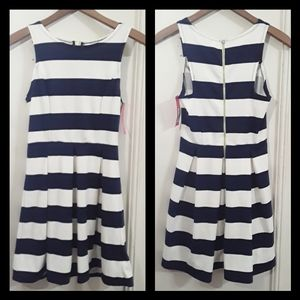 Fit Flair Dress Navy Blue White Striped mini